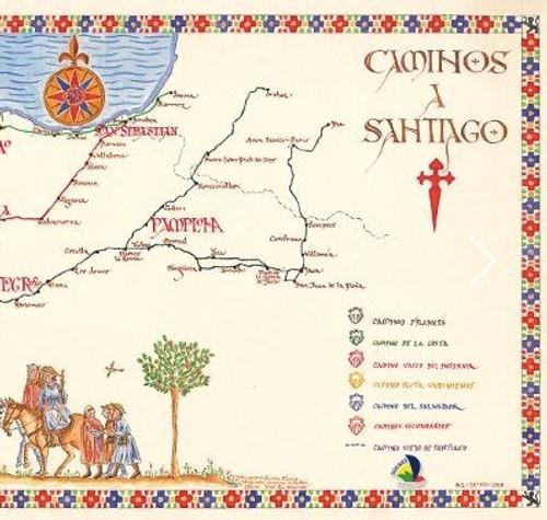 Caminos a Santiago medieval map