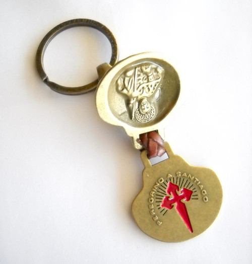 Camino de Santiago St. James Apostle Pilgrim Golden Key Ring