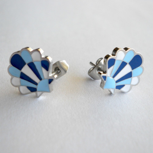 Camino de Santiago Scallop Shell enamel Earrings