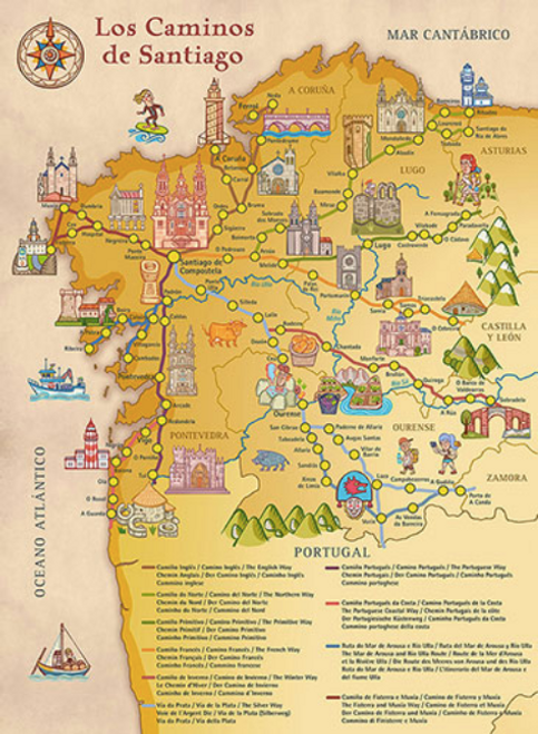 Camino de Santiago Large Wall Poster Map