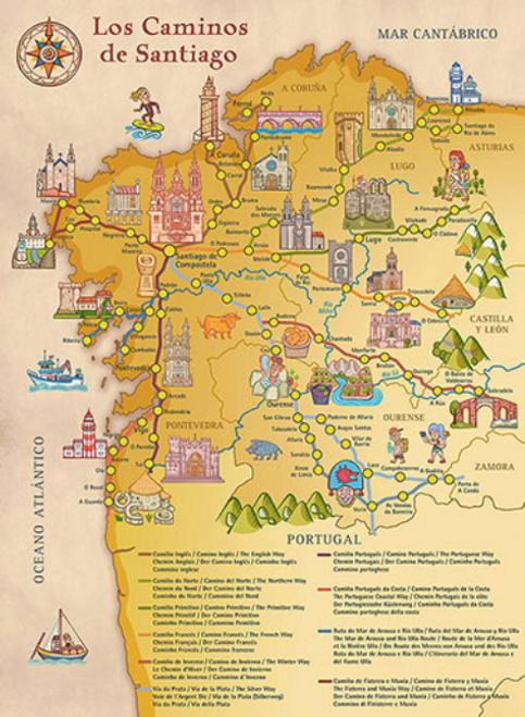 Camino de Santiago Large Wall Poster Map