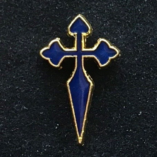 Camino de Santiago - St James Cross lapel Pin Royal Blue