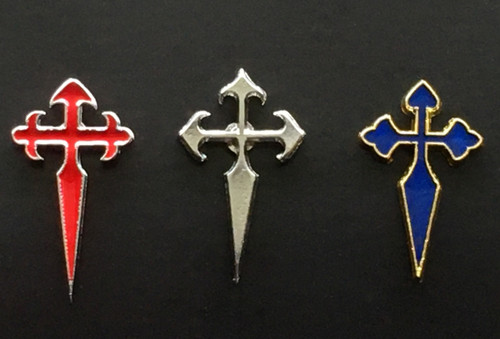Camino de Santiago - St James Cross lapel Pin set Red / Silver / Royal Blue