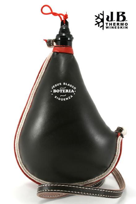 Spanish Bota de vino Thermal Leather Bag 1-1/2 L - Black