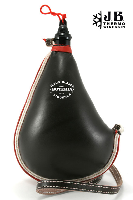 Spanish Bota de vino Thermal Leather Bag 1-1/2 L - Black