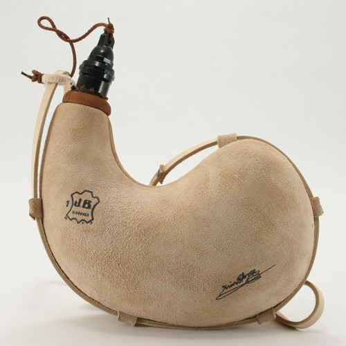 Spanish Bota Bag Leather 1L Curved Wineskin Wine Skin - Natural