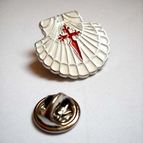 Camino de Santiago Scallop Shell - St James Cross Pilgrim lapel Pin