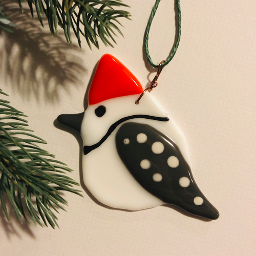 Fused Glass Birds - Wood Pecker
