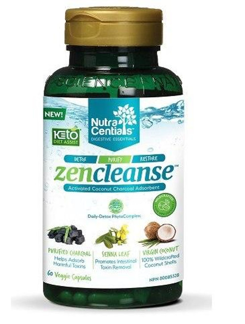 Nutra Centials - Zen Cleanse - Activated Coconut Charcoal ( 60 vcaps)