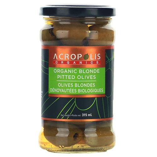 Acropolis Organics Pitted Blond (Green) Olives, 315mL