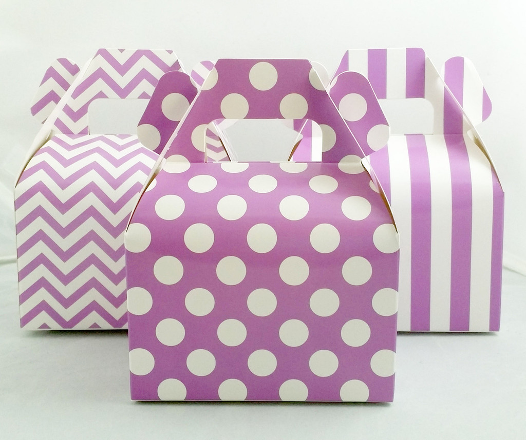 Mini Gable Box - Purple Box - Chevron Favor Box - Stripe Box - Dot Gable Box (12ct)