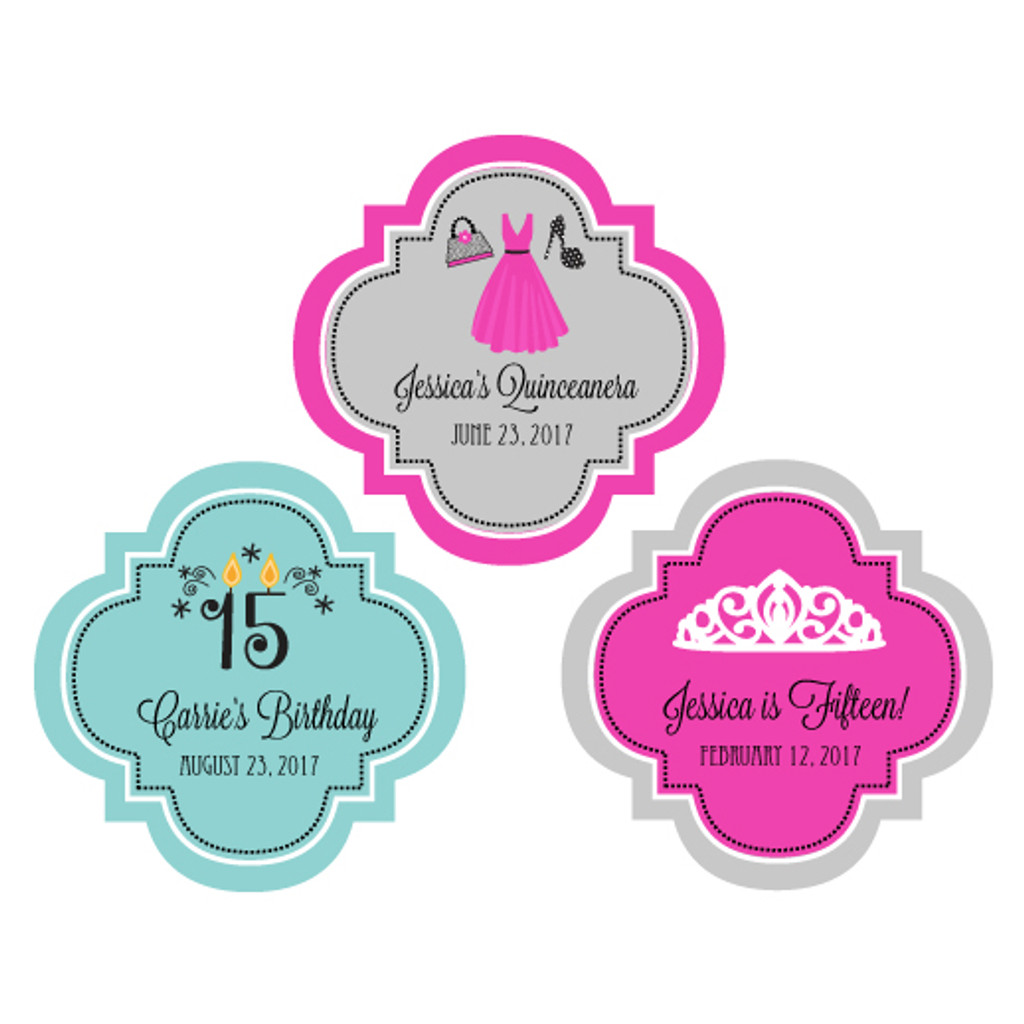 Personalized Sweet 16 Labels, Quinceanera Stickers, Sweet 15 Favor Labels, Birthday Sticker 48ct