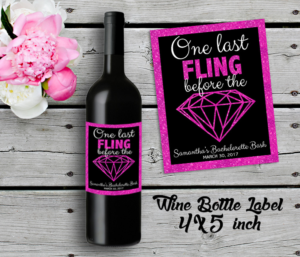 Bachelorette Personalized Wine Bottle Labels - Wine Label - Bridal Shower Wine Label - Hot Pink (4ct)