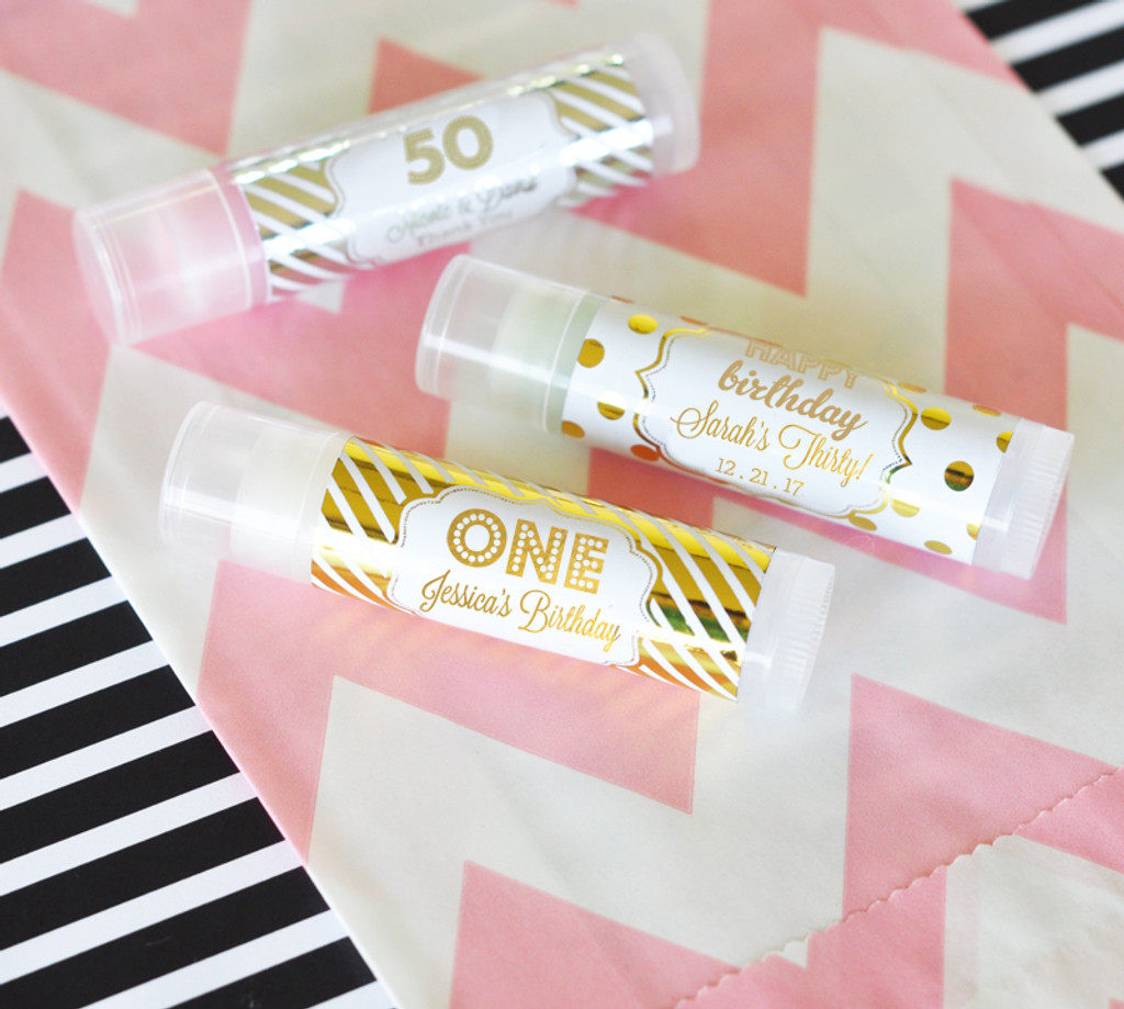 Personalized Birthday Favors Metallic Foil Lip Balm Tubes 30th 40th