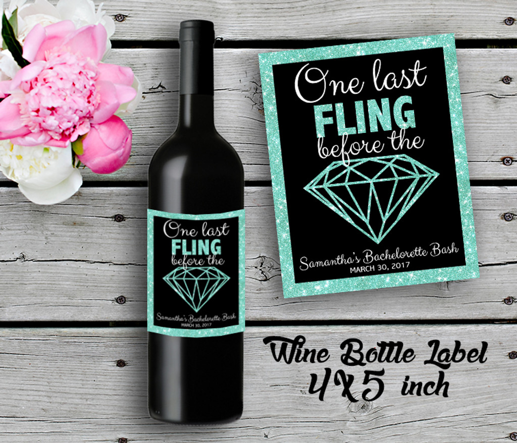 Bachelorette Personalized Wine Bottle Labels - Wine Label - Bridal Shower Wine Label - Aqua (4ct)