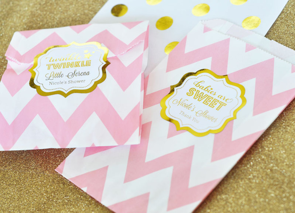 Baby Shower Favor Bags - Candy Buffet Bags - Pink and Gold Goodie Bags - Cookie Bag - Favor Bag 36ct