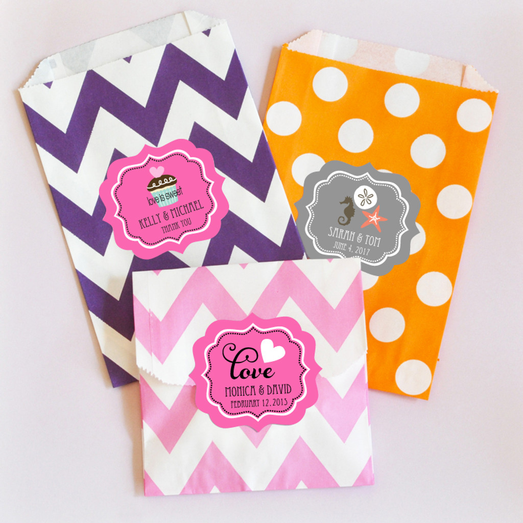 Personalized Chevron & Dots Goodie Bags - Candy Buffet Bags - Cookie Bag - Favor Bags 36ct