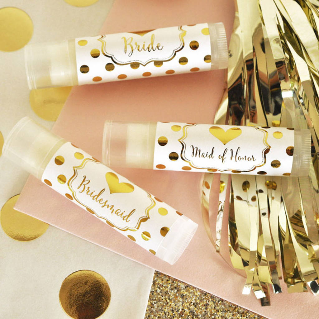 Bachelorette Party Favors, Personalized Metallic Foil Lip Balm Tubes, Bridal Shower Favor