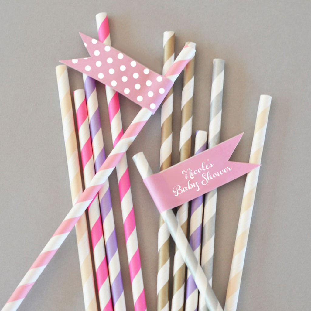 Personalized Flag Labels - Birthday Straw Flags - Toothpick Flags (40ct)