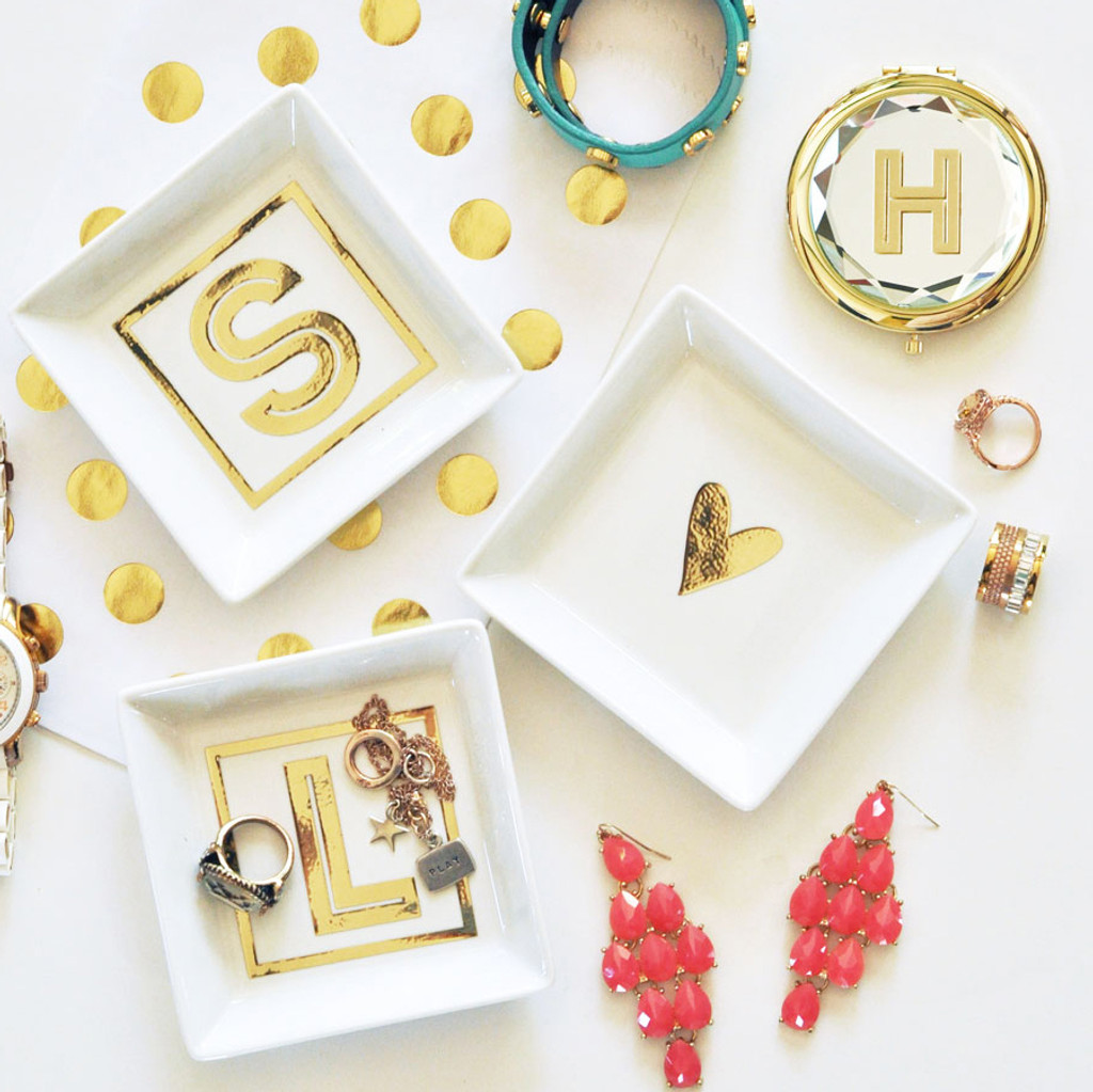 Jewelry Dish Monogram - Ring Dish - Personalized Maid of Honor & Bridesmaid Gifts 6ct