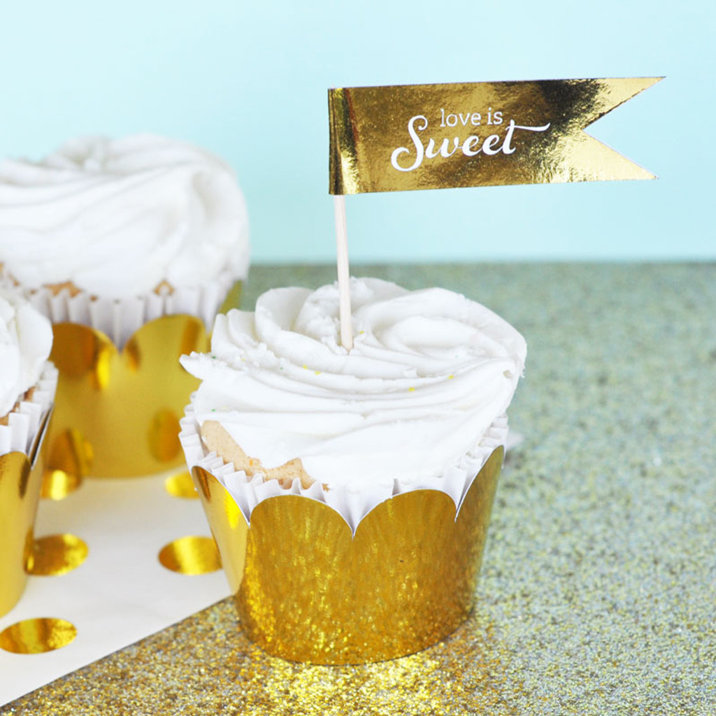 Foil Personalized Flag Labels - Gold Wedding Straw Flags Stickers  (40ct)