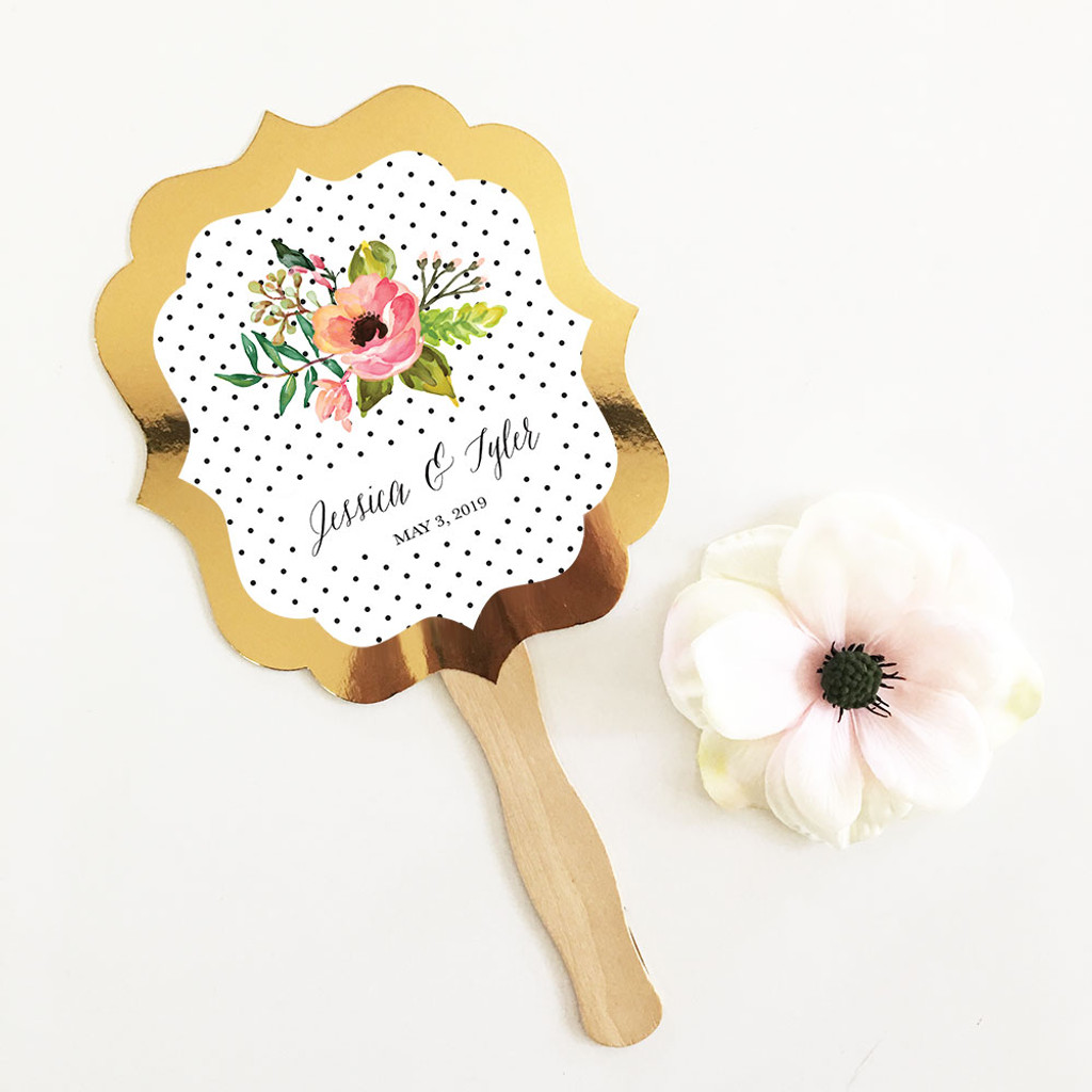 Personalized Floral Garden Gold Paddle Fans - Gold Hand Fans 12ct