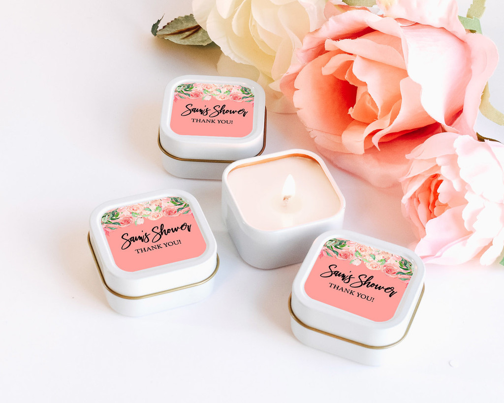 Bridal Shower Candles - Custom Candle Favors - Wedding Candle (Set of 12)