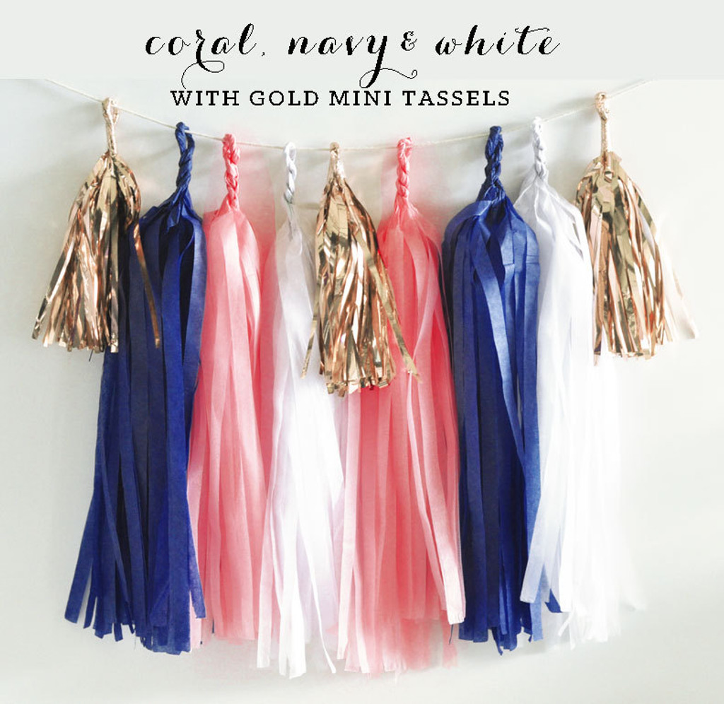 Navy and Coral Paper Tissue Tassel Garland