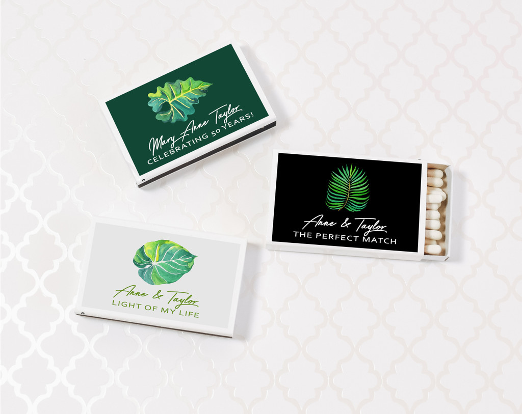 Palm Leaf Match Box - Wedding Matches - Wedding Matchbook Favor (Set of 50)
