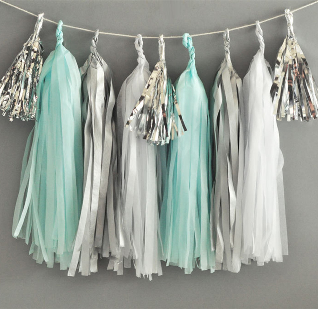 Baby Shower Paper Tissue Tassel Garland, Blue, White, Metallic Silver Garland