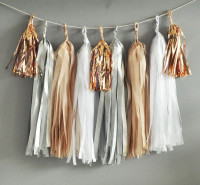 Bridal Shower Tassel Garland Silver White Sand Rose Metallic Rose Gold Mini Tassel