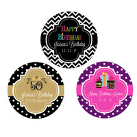 Birthday Personalized Stickers, Birthday Favor Label, 30th Birthday, 40th Birthday Party Circles (48ct)