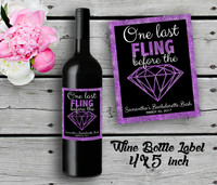 Bachelorette Personalized Wine Bottle Labels - Wine Label - Bridal Shower Wine Label - Purple (4ct)