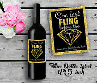Bachelorette Personalized Wine Bottle Labels - Wine Label - Bridal Shower Wine Label - Gold (4ct)