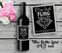 Bachelorette Personalized Wine Bottle Labels - Wine Label - Bridal Shower Wine Label - Silver (4ct)