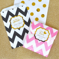 Wedding Favor Bags - Candy Buffet Bags - Pink and Gold Goodie Bags - Cookie Bag - Favor Bag 36ct