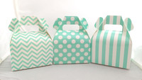 Mini Gable Box - Aqua Box - Chevron Favor Box - Stripe Box - Dot Gable Box (12ct)