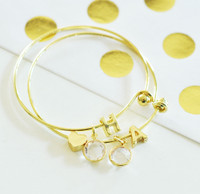 Gold Monogram Bracelets - Bridesmaid Gifts - Maid Of Honor Gifts - Charm Bracelet 1ct