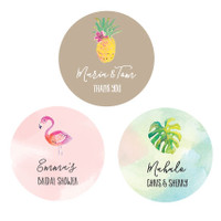 Tropical Beach Round Labels 36ct - Hawaii Labels - Beach Party Theme - Pineapple Labels - Sea Party Labels - Palmtree Labels