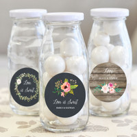 Personalized Floral Garden Milk Bottles 12ct