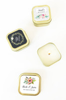 Gold Candle Tins - Floral Garden Cand Favors 12ct