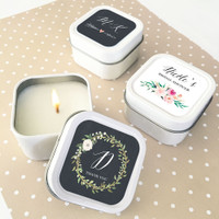 Personalized Floral Garden Square Candle Tins - Candle Favors 12ct