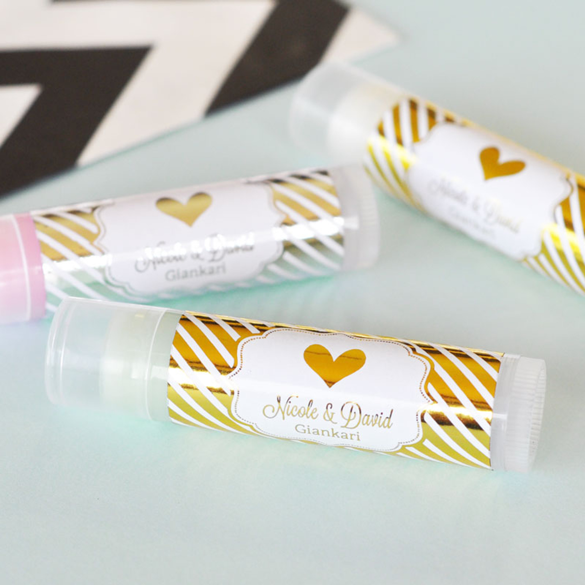 Metallic Foil Lip Balm Favors Bridal Shower Favor Wedding Favor