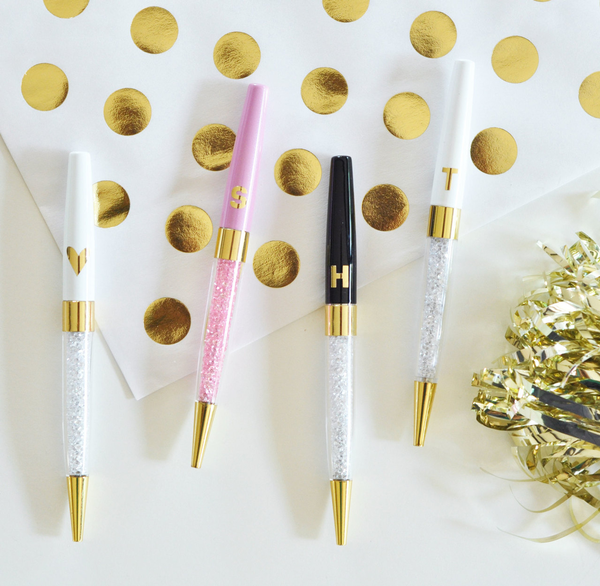 Monogram Pens - Crystal Pens - Glossy Pen Gifts - Maid Of Honor Gifts 3ct - momentosevents