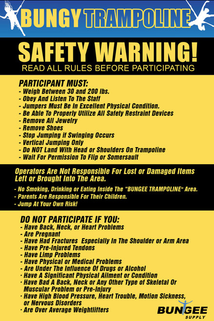 Bungee Trampoline Safety / Rules Sign - Banner