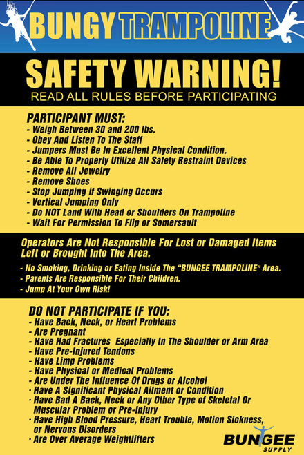 Bungee Trampoline Safety / Rules Sign - Aluminum