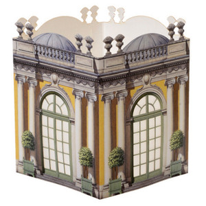 THE BELVEDERE TABLE LANTERN depicts a finely detailed classical pavilion, printed on heavy-weight stock with die-cut windows backed by translucent paper. Place a tea light inside and the pavilion glows with festive cheer.  Pre-folded size: 23 x 16 cm    | Organiser World