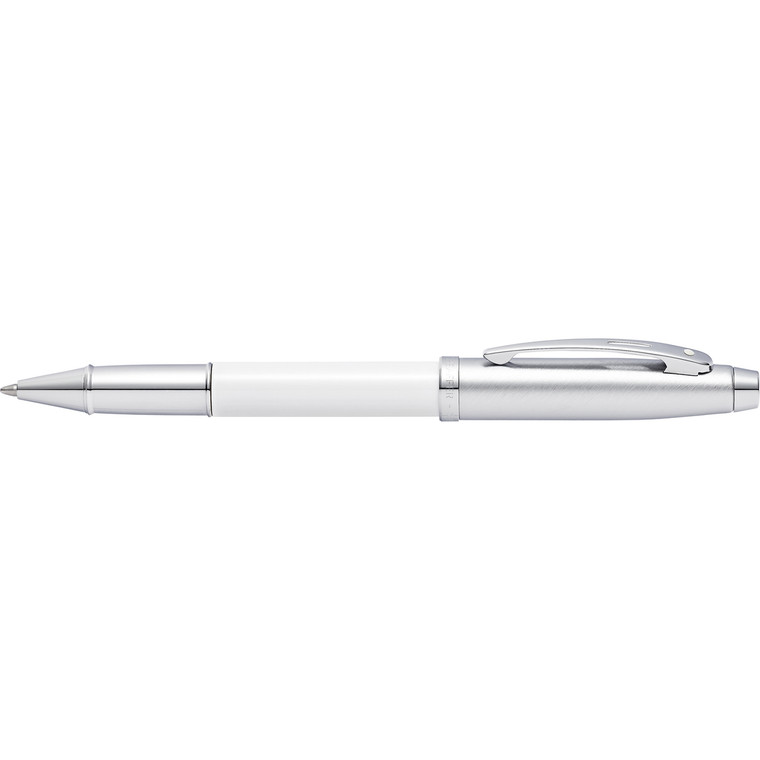 100 Brushed Chrome/White Lacquer Rollerball Pen