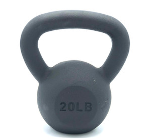 Black Powder-Coated Cast Iron Kettlebell - 20 LB