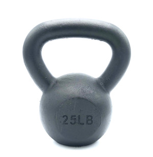 Black Powder-Coated Cast Iron Kettlebell - 25 LB
